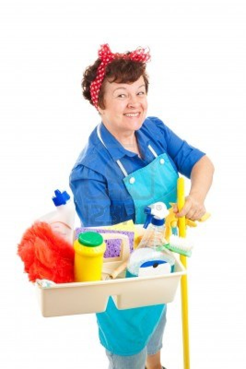 5345003-cheerful-cleaning-lady-holding-her-tray-of-cleaning-tools-and-products-isolated-on-white